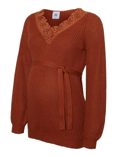 Mama-Licious Positie trui MLMADELAIN L/S KNIT TOP 20010272 Ginger Bread/LACE IS