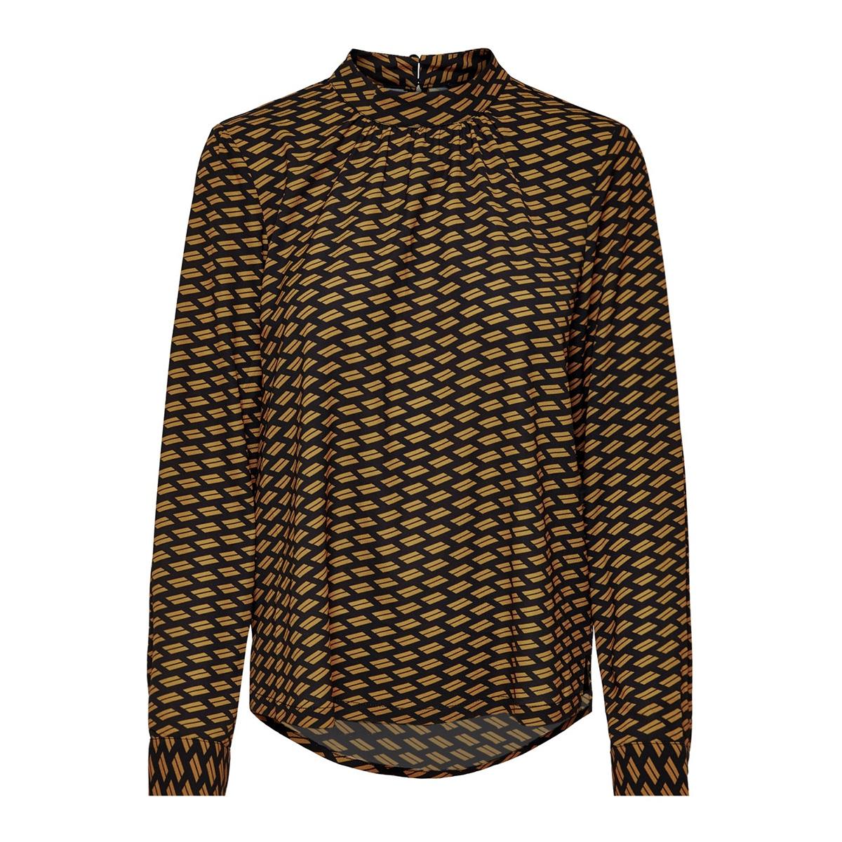 onlnova lux aop l/s  highneck top 8 15191107 only blouse black/graphic earth