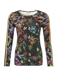 top aop flower with lurex tape 93932 20 geisha t-shirt 000999 black/multi color