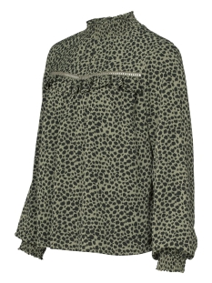 top leopard with elastic collar 93823 21 geisha blouse 000550 army/black panter