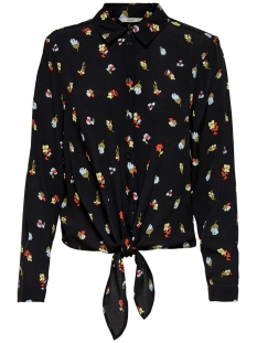 Only Blouse ONLAMANDA L/S KNOT TOP WVN 15193846 BLACK/WANTED FLO