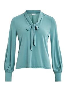 vivesa l/s high neck t-shirt 14054490 vero moda blouse oil blue
