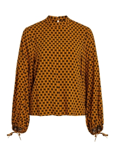 Object Blouse OBJDINAH L/S TOP .I 106 23030840 Buckthorn Brown/BLACK