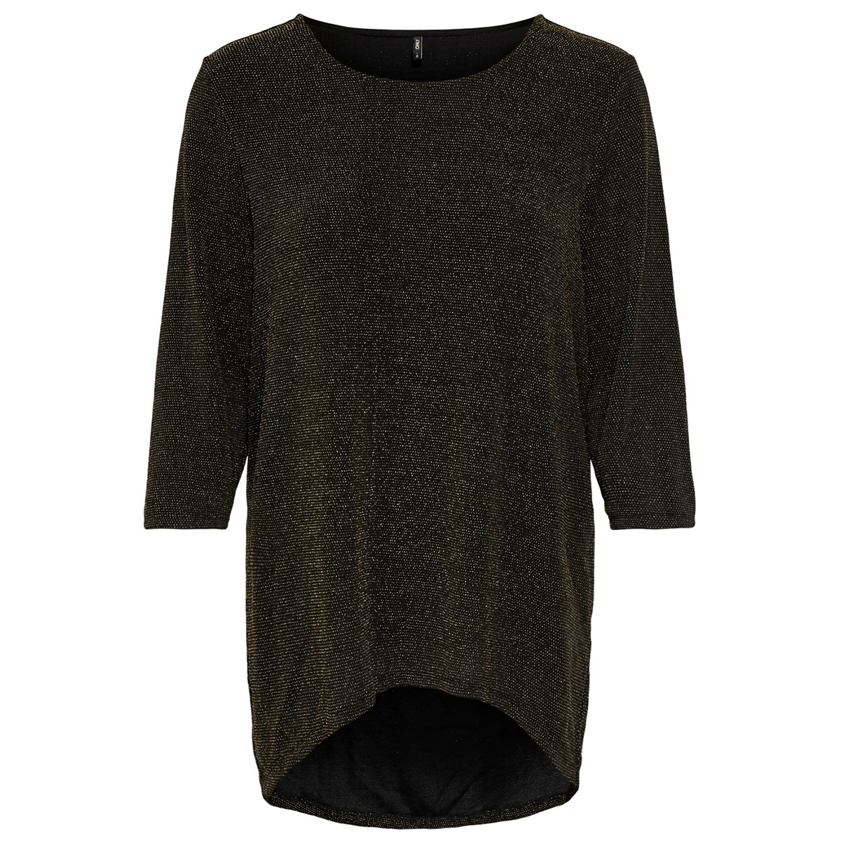 onlqueen elcos 3/4 glitter  top jrs 15195551 only t-shirt black/gold lurex