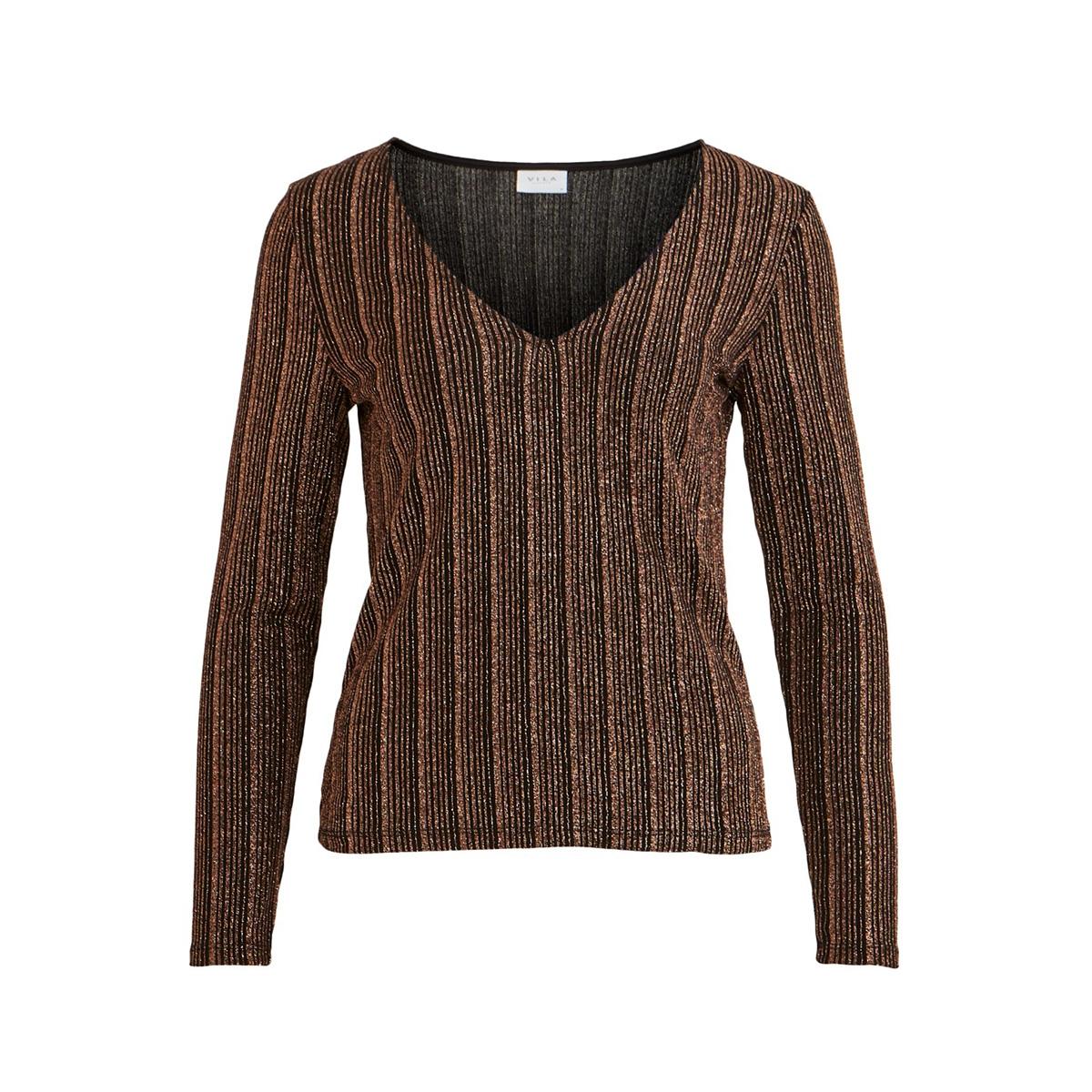 visual v-neck l/s top 14054758 vila t-shirt black/w. cobber