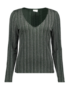 Vila T-shirt VISUAL V-NECK L/S TOP 14054758 Pine Grove/SILVER