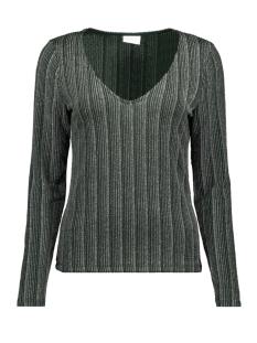 visual v-neck l/s top 14054758 vila t-shirt pine grove/silver