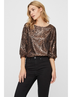 vmdakota 3/4 boatneck top wvn 10221681 vero moda t-shirt black/copper leo