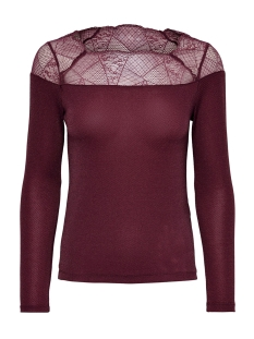 Only T-shirt ONLAYA L/S LACE LUREX TOP JRS 15190681 Tawny Port