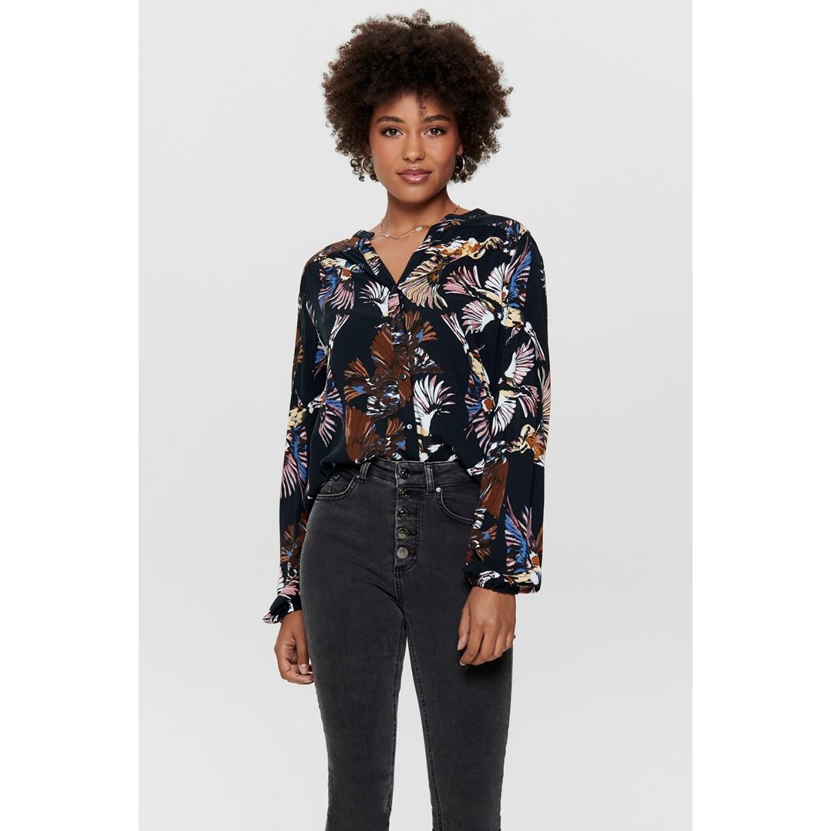 jdyollie l/s shirt wvn 15194308 jacqueline de yong blouse black/bird