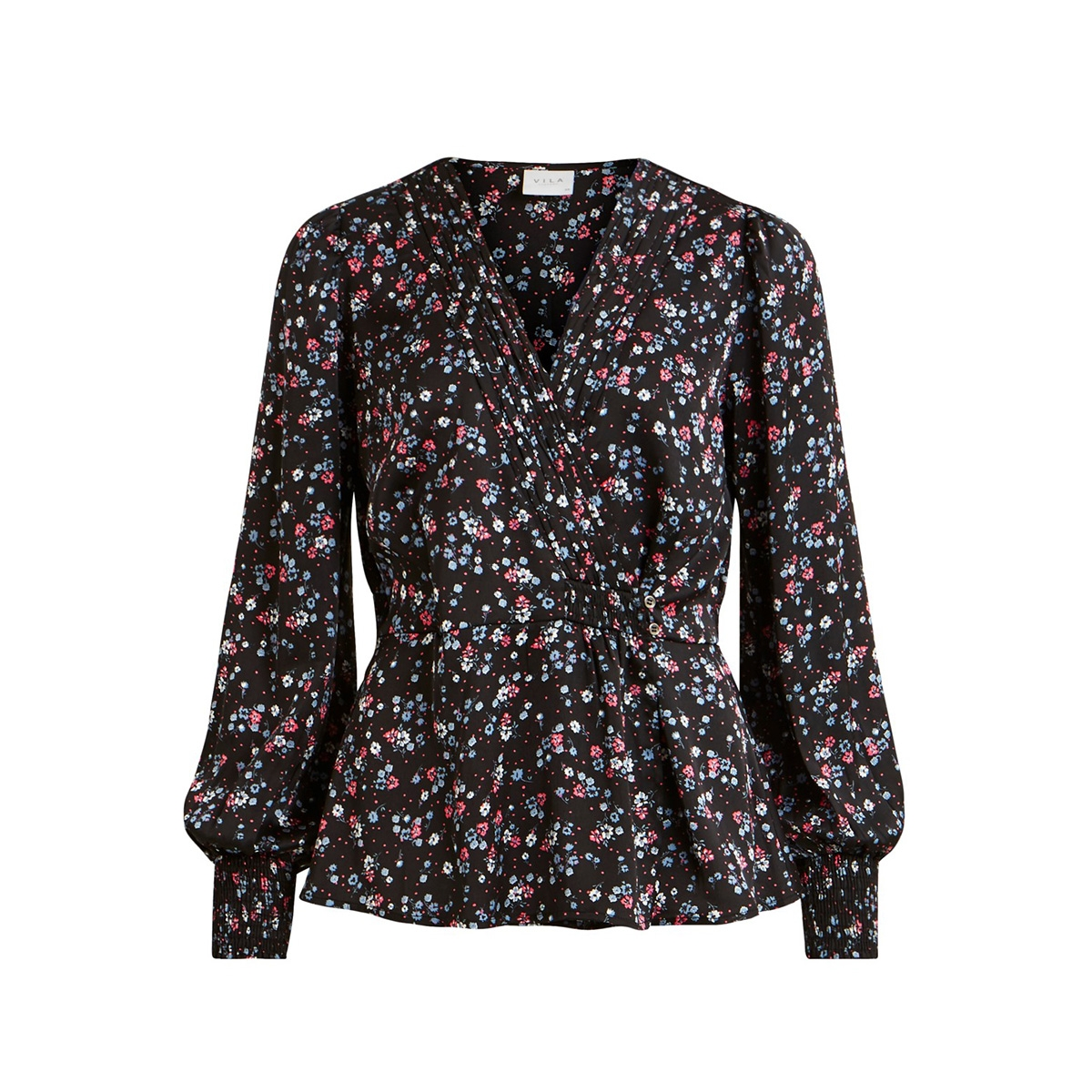 vidago l/s top 14056643 vila blouse black/flowers
