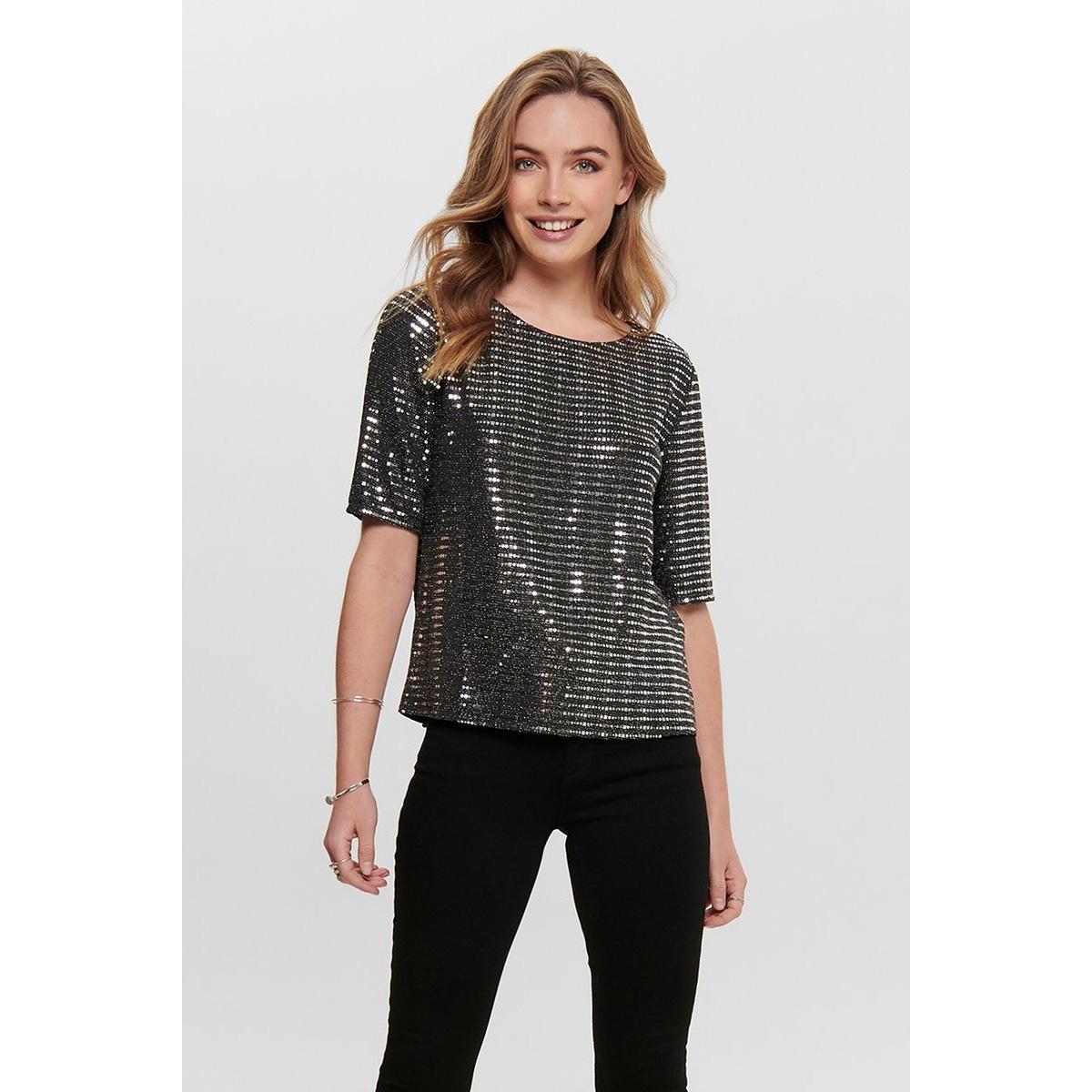 jdypacey s/s top jrs exp 15197042 jacqueline de yong t-shirt black/silver rubber