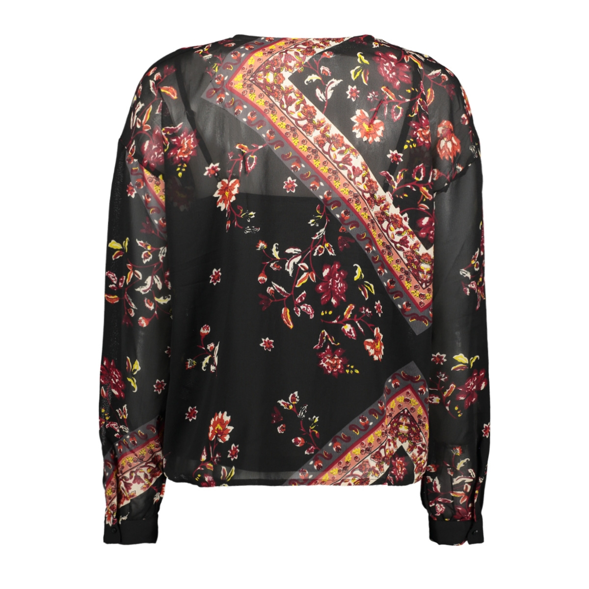 onlnina l/s v-neck top wvn 15191665 only blouse black/scarf flowers red