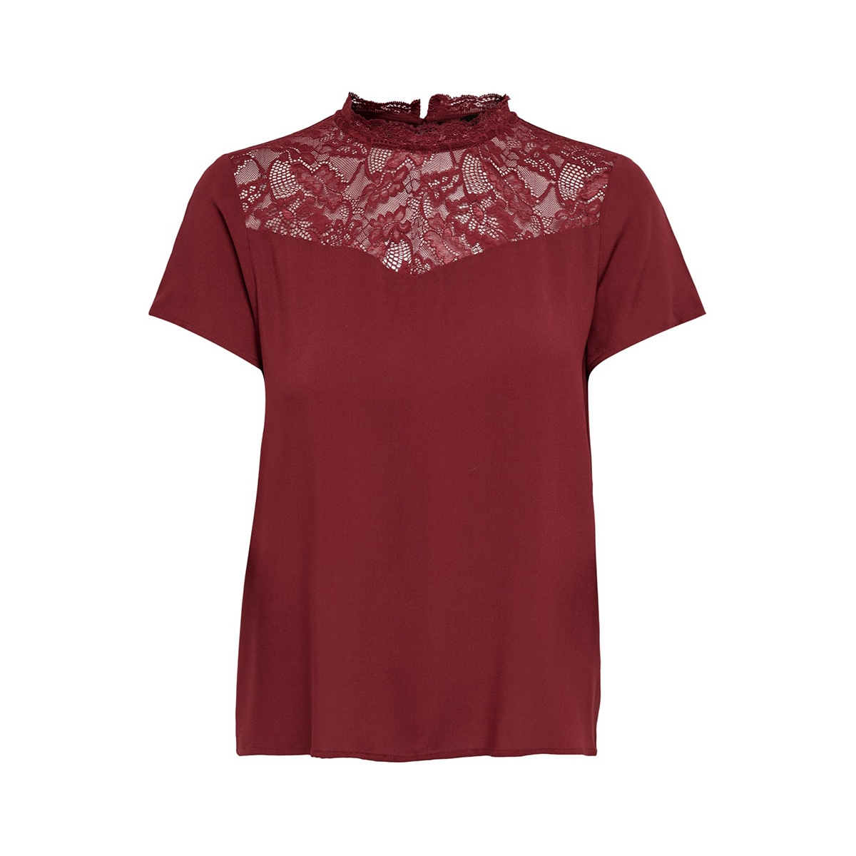 onlfirst ss lace top noos wvn 15191412 only t-shirt merlot