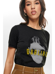 Only T-shirt ONLVIVIAN REG S/S TOP BOX ACID CO J 15183271 Black/DARLING GOLD