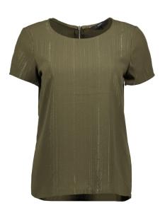 Vero Moda T-shirt VMSASHA SS ZIP TOP LUREX 10229634 Ivy Green/LUREX GOLD