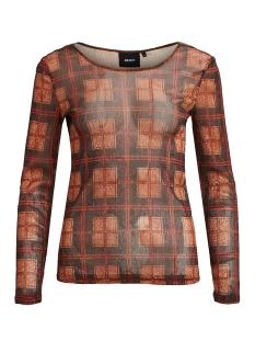 objgloria l/s jersey top 105 23030610 object t-shirt nightshade/check