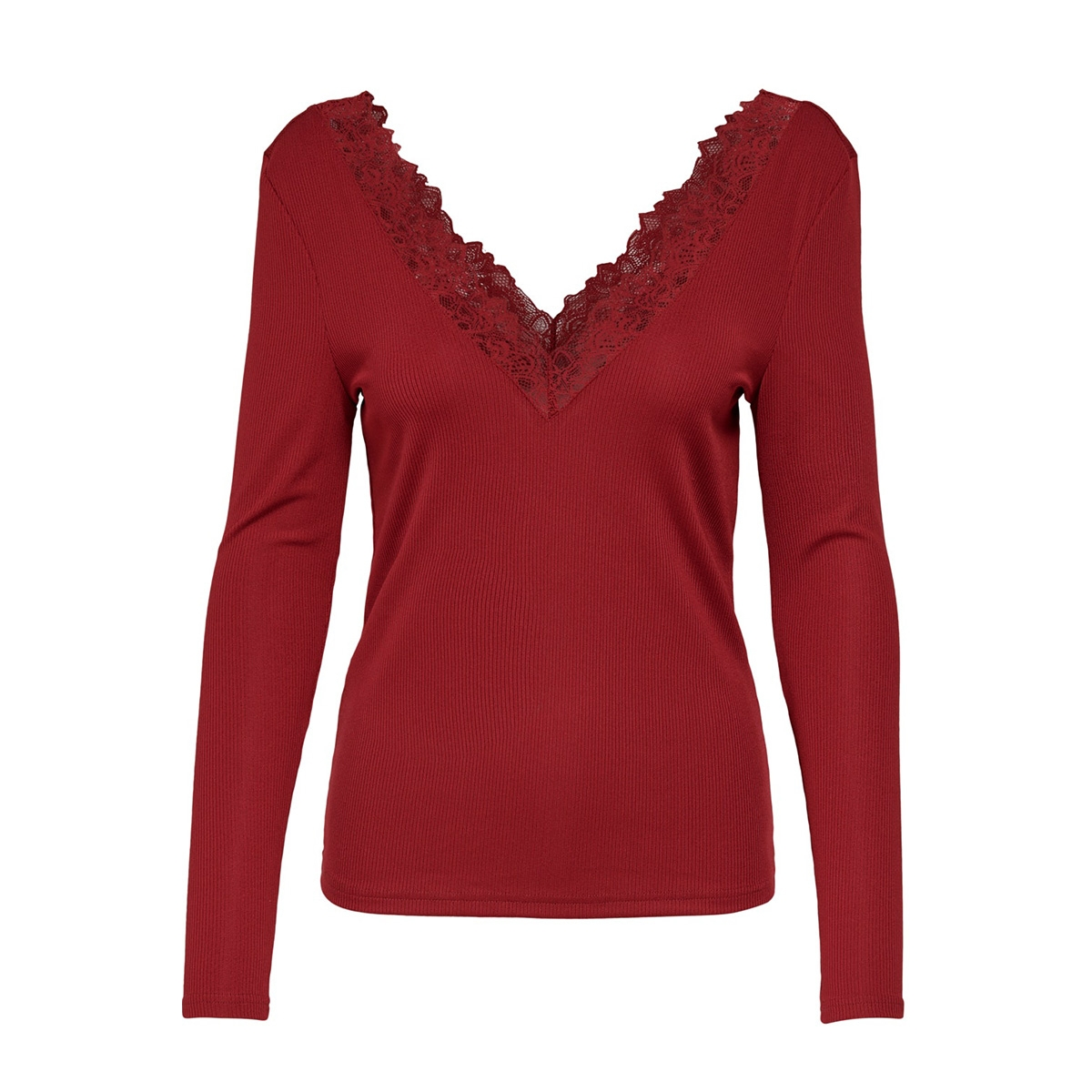 onlrio l/s v-neck top jrs 15193063 only t-shirt rio red/dtm lace