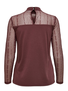 jdykia l/s top jrs 15185967 jacqueline de yong t-shirt vineyard wine/dtm lace