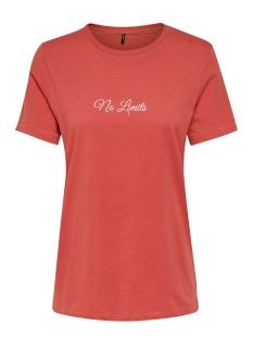 Only T-shirt ONLVINNI REG S/S TEXT TOP BOX CO JR 15195773 Cranberry/NO LIMITS