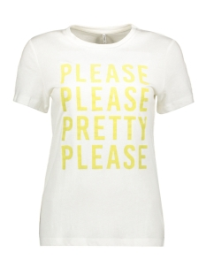 Only T-shirt ONLMARY REG S/S TOP BOX JRS 15201238 Bright White/PLEASE