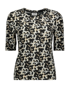 Noisy may T-shirt NMSALLY 2/4 SLEEVE TOP AOP 27012318 Black/LEO RED AND BLUE