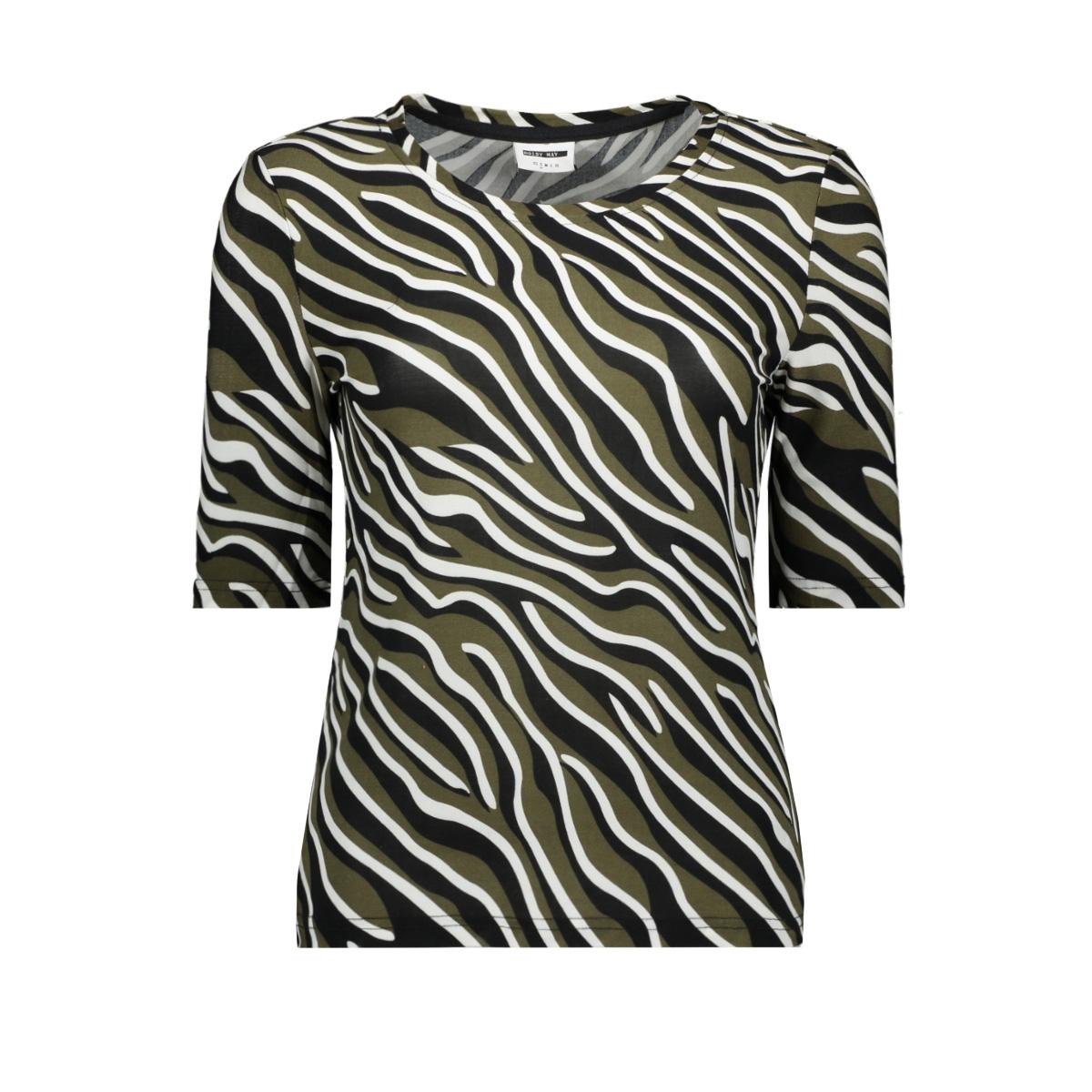 nmsally 2/4 sleeve top aop 27012318 noisy may t-shirt olive night/zebra black