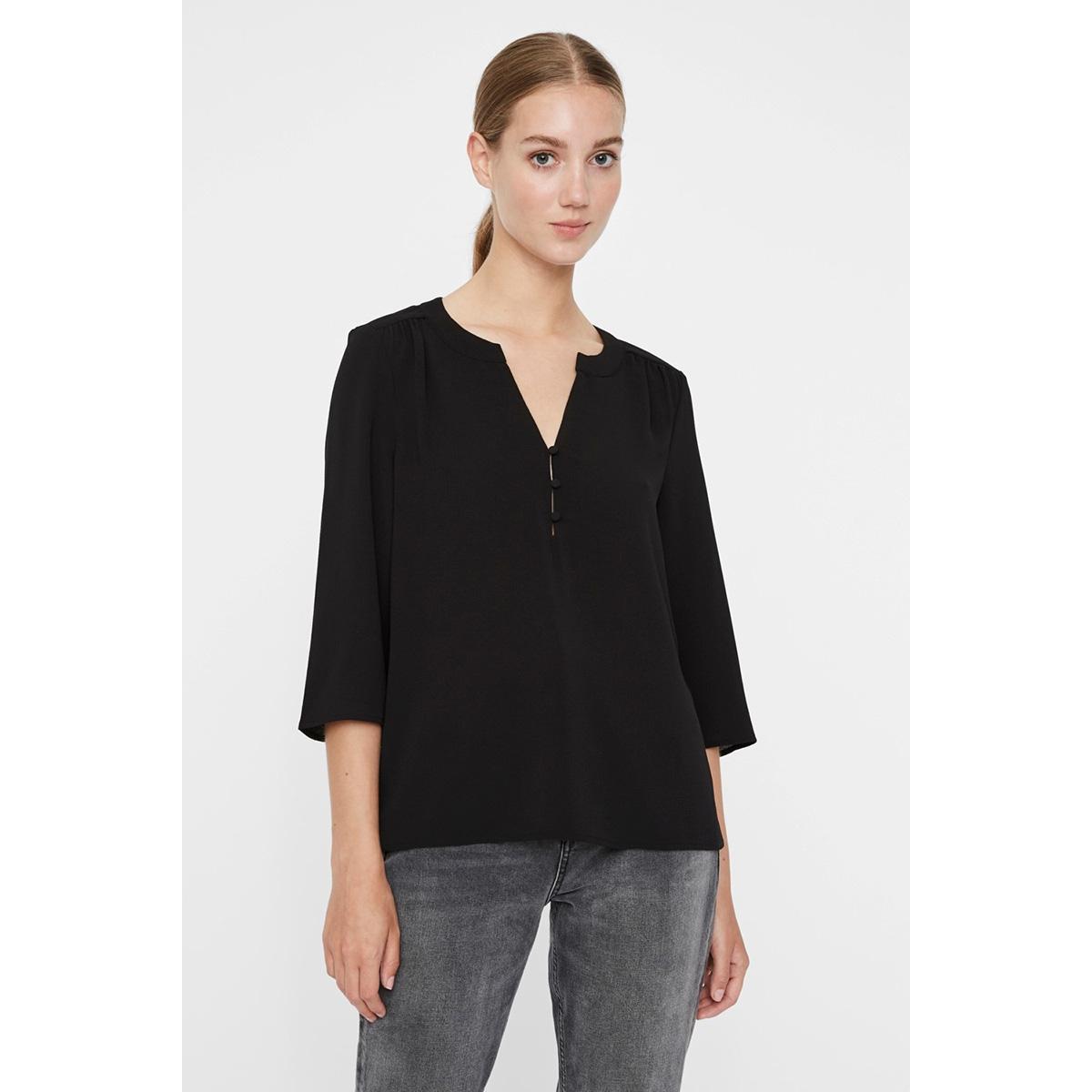 vmsasha 3/4 button top ga 10226529 vero moda t-shirt black