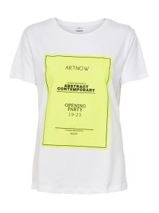Jacqueline de Yong T-shirt JDYJETTA LIFE S/S PRINT TOP DENIM 15193929 Bright White/YELLOW PRINT