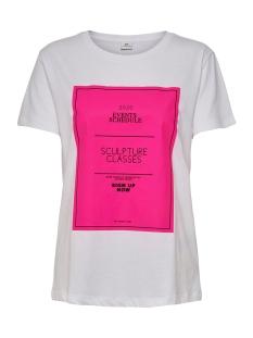 Jacqueline de Yong T-shirt JDYJETTA LIFE S/S PRINT TOP DENIM 15193929 Bright White/NEON PINK