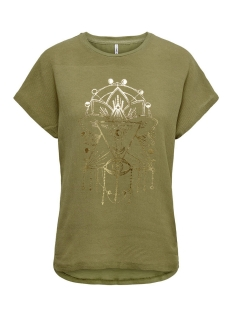 Only T-shirt ONLCARIN LIFE REG S/S FOIL TOP BOX 15199852 Martini Olive/EYE