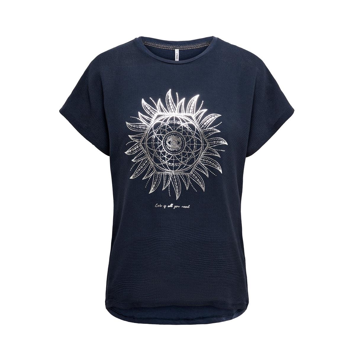 onlcarin life reg s/s foil top box 15199852 only t-shirt night sky/love