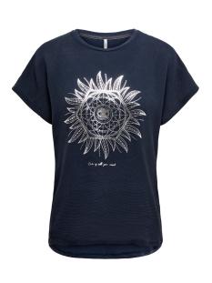 Only T-shirt ONLCARIN LIFE REG S/S FOIL TOP BOX 15199852 Night Sky/LOVE