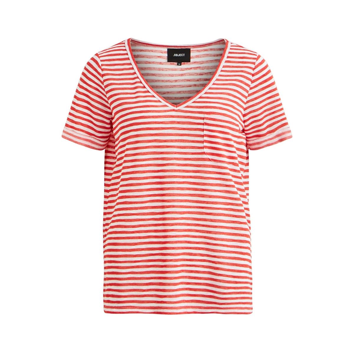 objtessi slub s/s v-neck seasonal 23026968 object t-shirt tandori spice/white