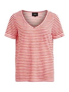 Object T-shirt OBJTESSI SLUB S/S V-NECK SEASONAL 23026968 Tandori Spice/WHITE