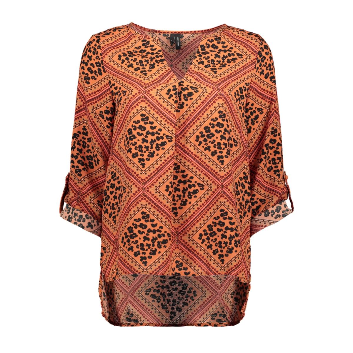 vmnaya 7/8 v-neck top exp 10228774 vero moda blouse bruschetta/graphic