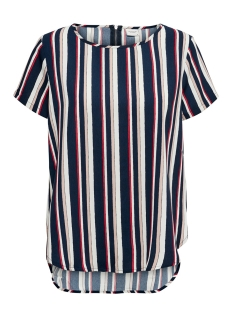 Jacqueline de Yong T-shirt JDYROSIE S/S ZIP TOP WVN 15197853 Navy Blazer/SCARLET SA