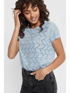 Jacqueline de Yong T-shirt JDYTAG S/S LACE TOP JRS RPT2 NOOS 15152331 Cashmere Blue