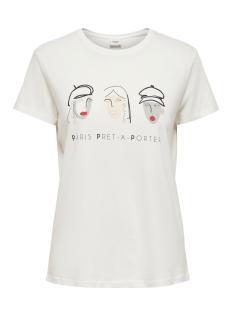 Jacqueline de Yong T-shirt JDYOUI LIFE S/S PRINT TOP JRS 15196907 Cloud Dancer/PRET