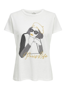 Jacqueline de Yong T-shirt JDYOUI LIFE S/S PRINT TOP JRS 15196907 Cloud Dancer/PARIS LIFE