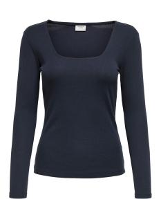 Jacqueline de Yong T-shirt JDYSMILLA L/S SQUARE NECK JRS 15196909 Navy Blazer