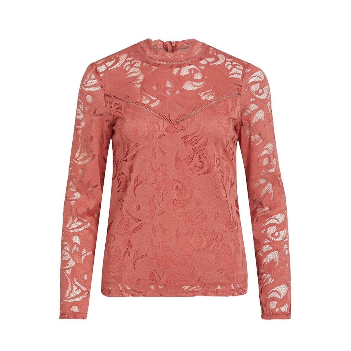 vistasia l/s lace top-fav 14044847 vila blouse dusty cedar