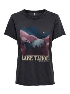 Only T-shirt ONLLUCY LIFE REG S/S LAND BOX ACID 15199823 Black/LAKE
