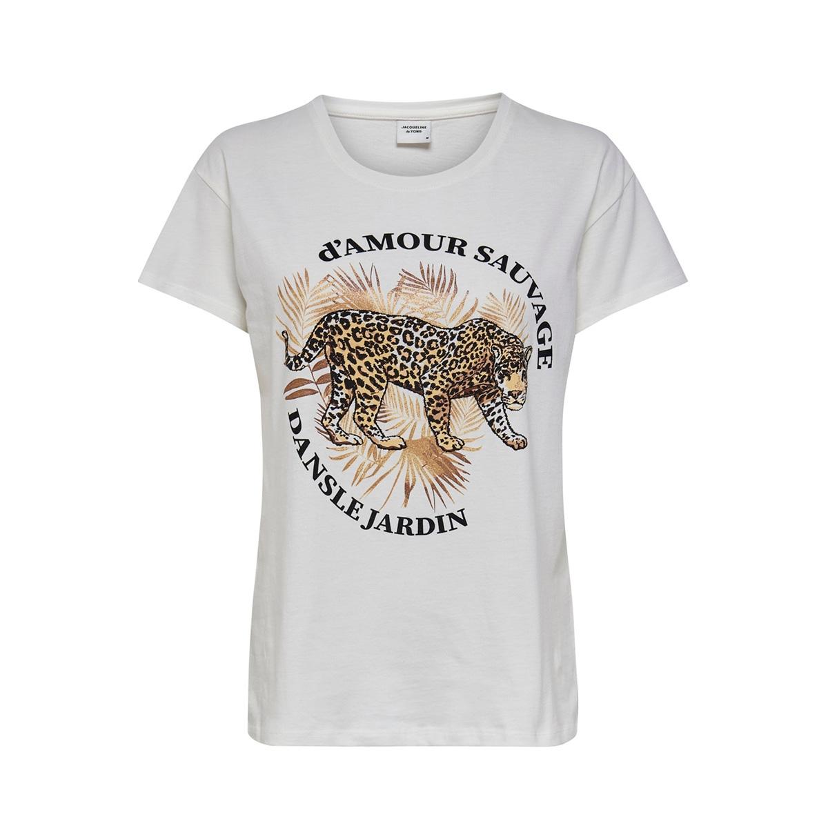 jdyglitter life s/s print top jrs 15209028 jacqueline de yong t-shirt cloud dancer/leo