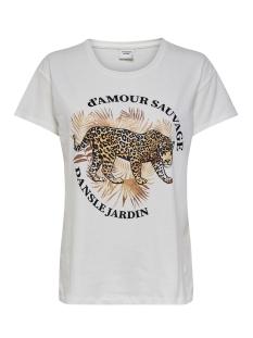 Jacqueline de Yong T-shirt JDYGLITTER LIFE S/S PRINT TOP JRS 15209028 Cloud Dancer/LEO