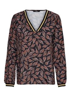 Only T-shirt ONLLALE L/S VNECK TOP WVN 15198057 Black/LEAF WHITE