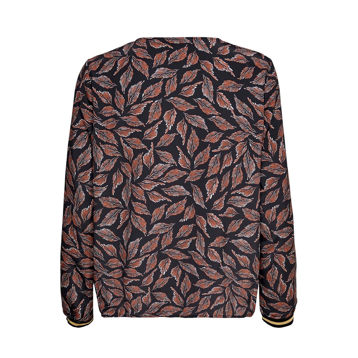 onllale l/s vneck top wvn 15198057 only t-shirt black/leaf white