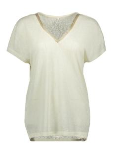 Only T-shirt ONLRALEY S/S V-NECK GLITTER TOP CS 15203057 Oatmeal