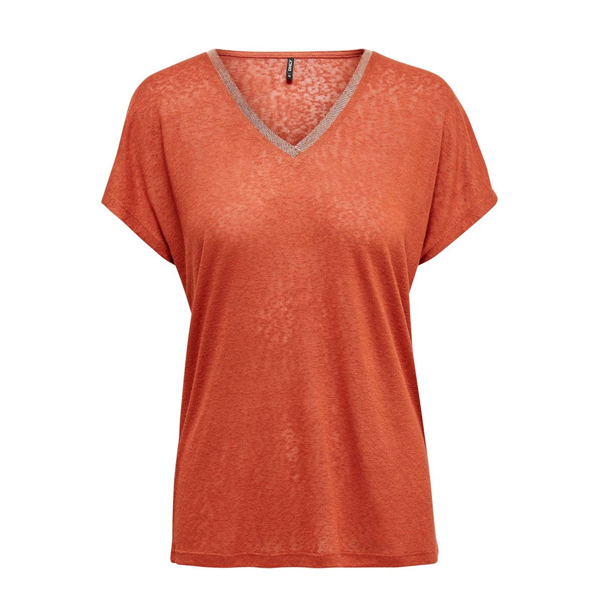 onlraley s/s v-neck glitter top cs 15203057 only t-shirt hot sauce