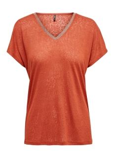 Only T-shirt ONLRALEY S/S V-NECK GLITTER TOP CS 15203057 Hot Sauce